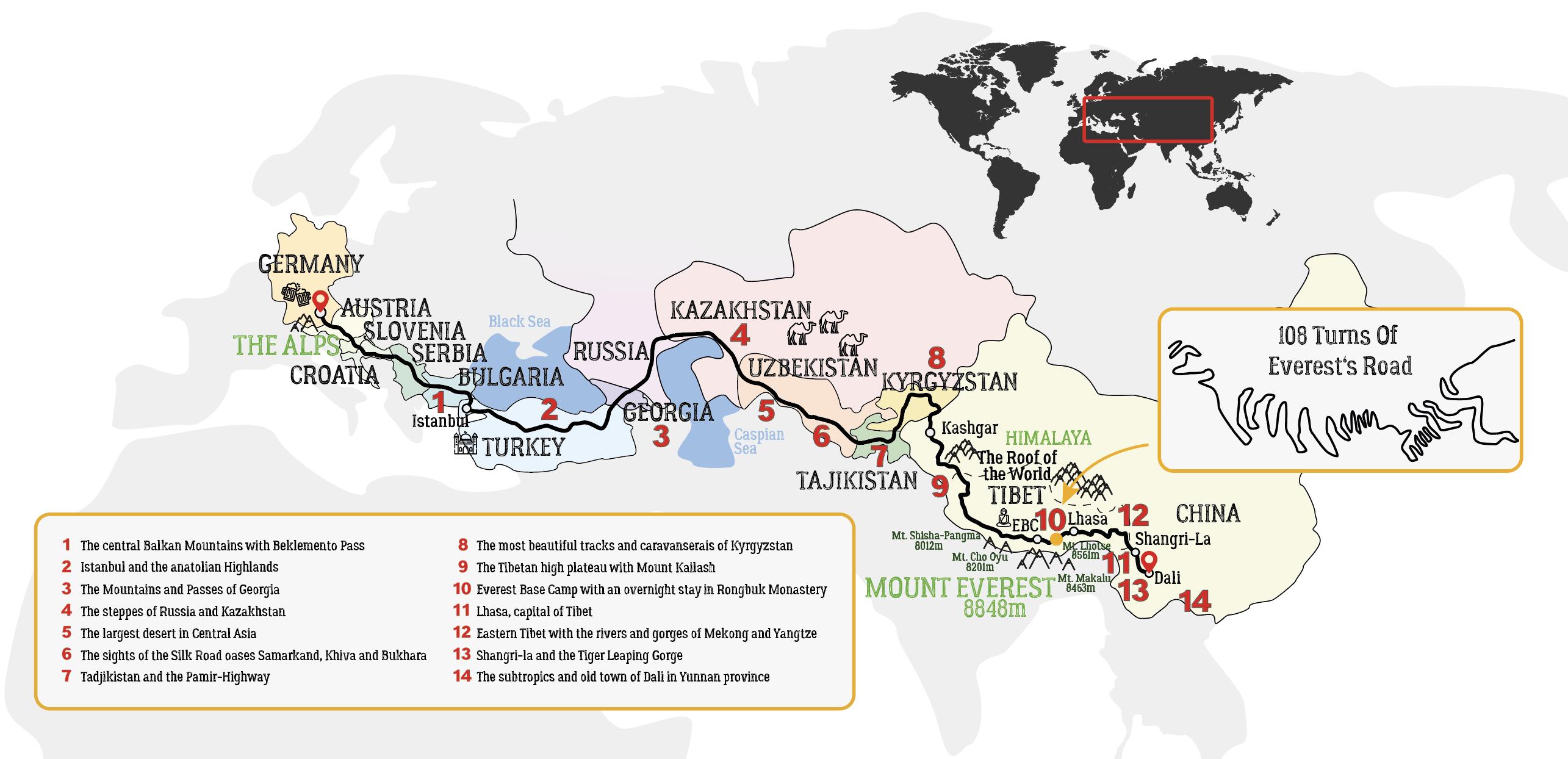 Silk Road Motorcycle Tour Map